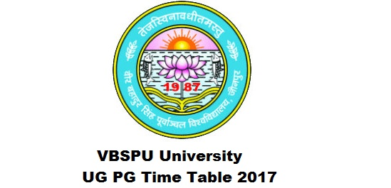 VBSPU Univ UG PG Time Table 2017 Download