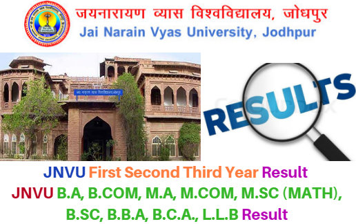 JNVU First Second Third year Results 2018