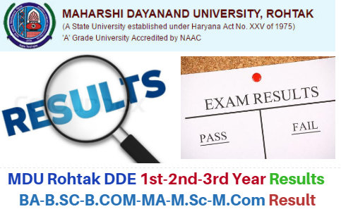 MDU Rohtak DDE 1st-2nd-3rd Year Result 2020