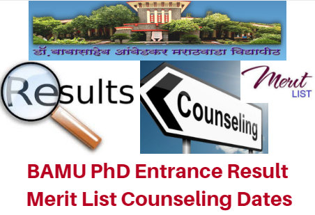 BAMU PhD Entrance Result 2017 Merit List Counseling Dates