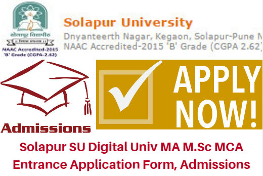 Solapur SU Digital University PG Entrance Test 2017 MA M.Sc MCA Form | Counseling Results