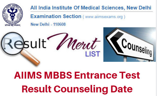 AIIMS MBBS Entrance Test Result 2017 Counseling Date