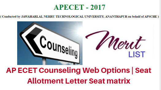 AP ECET Counseling 2017 Web Options | Seat Allotment Letter Seat matrix