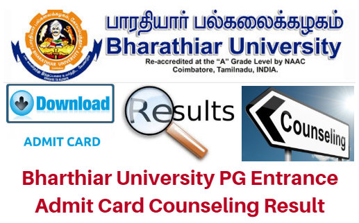 Bharthiar University PG Entrance Admit Card 2017 Counseling Result