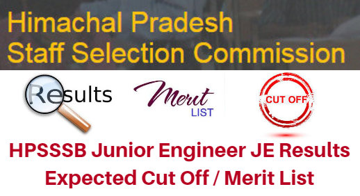 HPSSSB Junior Engineer JE Results 2016-17 Expected Cut Off / Merit List