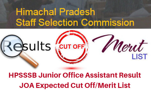 HPSSSB Junior Office Assistant Result 2017 JOA Expected Cut Off/Merit List