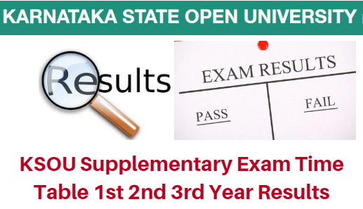 KSOU Supplementary Exam Time Table 2019