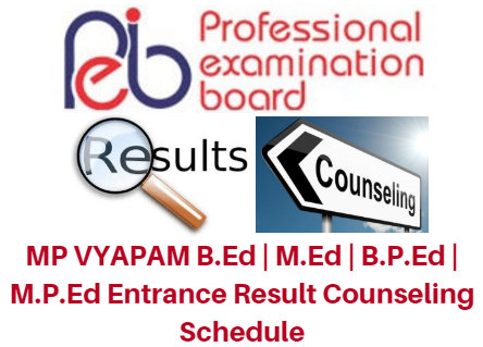 MP VYAPAM B.Ed | M.Ed | B.P.Ed | M.P.Ed Entrance Result 2017 Counseling Schedule
