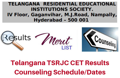 Telangana TSRJC CET Results 2017 Counseling Schedule/Dates