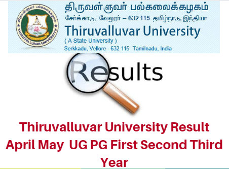 Thiruvalluvar University Result April May 2017 UG PG First Second Third Year