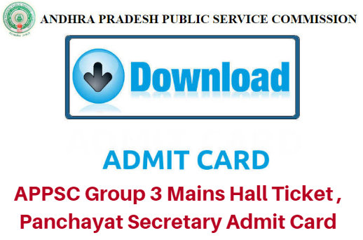 APPSC Group 3 Mains Hall Ticket 2019