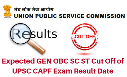 Expected GEN OBC SC ST Cut Off of UPSC CAPF Exam 2017 Result Date