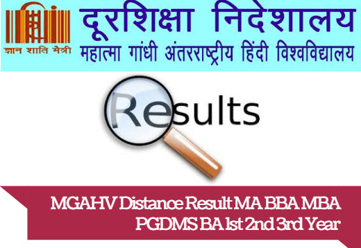 MGAHV Distance Result MA BBA MBA PGDMS BA 1st 2nd 3rd Year
