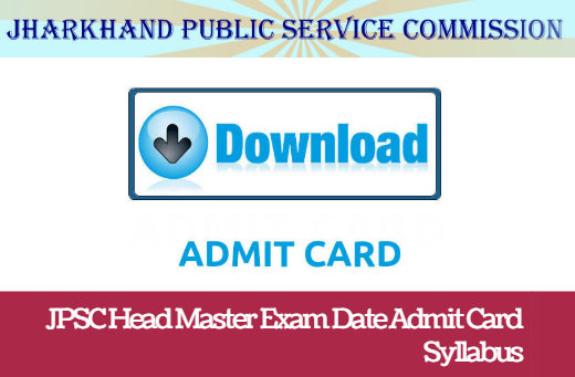 JPSC Head Master Syllabus 2018