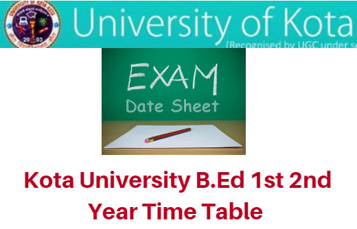 Kota University B.Ed Time Table 2018