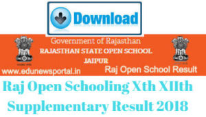 Raj Open Schooling Xth XIIth Supplementary Result 2018