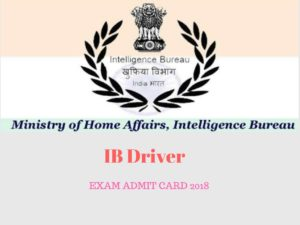 IB Driver Exam Admit Card 2018
