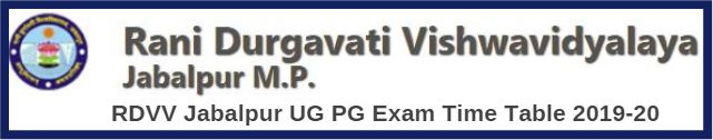 RDVV Jabalpur UG PG Exam Time Table 2019-20