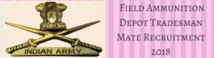 Field Ammunition Depot Tradesman Mate Recruitment 2018