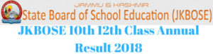 JKBOSE 10th 12th Class Annual Result 2018