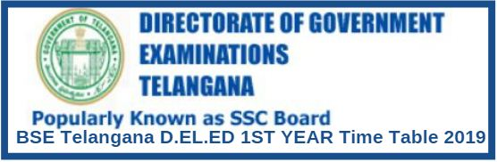 BSE Telangana D.EL.ED 1ST YEAR Time Table 2019
