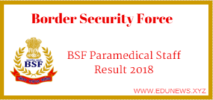 BSF Paramedical Staff Result 2018
