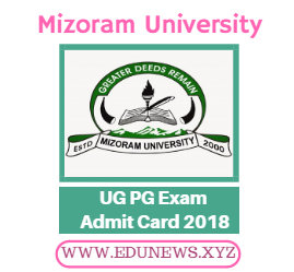 Mizoram University UG PG Admit Card 2018