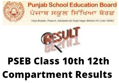 PSEB Class 10th 12th Compartment Results 2020