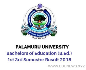 Palamuru University B.ed. Exam Result 2018