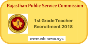 RPSC Rajasthan 1st Grade Teacher Sanskrit Form 2018 134 vacancies