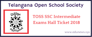 TOSS ssc intermediate exam hall tickets 2018