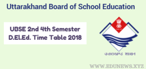 UBSE 2nd 4th Semester D.El.Ed. Time Table 2018