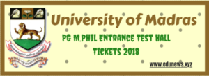 UNOM PG M.Phil Entrance TEst Hall Tickets 2018