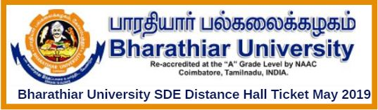Bharathiar University SDE Distance Hall Ticket May 2019