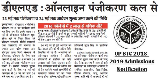 UP BTC 2018-2019 Admissions Notification