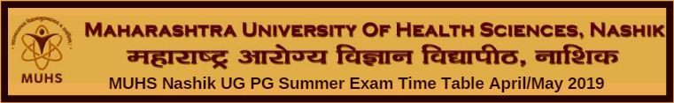 MUHS Nashik UG PG Summer Exam Time Table April/May 2019
