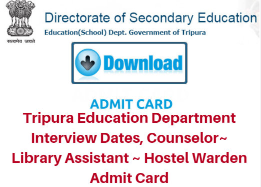 Tripura Education Department Interview Dates 2018