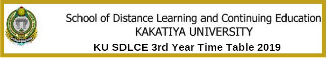 KU SDLCE 3rd Year Time Table 2019
