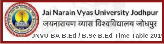 JNVU BA B.Ed / B.Sc B.Ed Time Table 2019