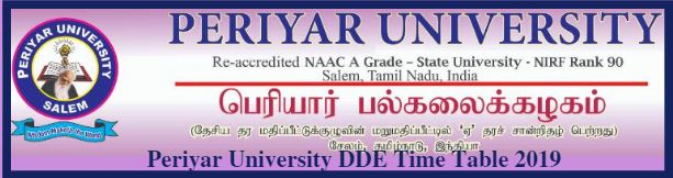 Periyar University DDE Time Table 2019