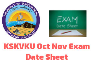 KSKVKU Oct Nov Exam Date Sheet