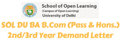 SOL DU BA B.Com (Pass & Hons.) 2nd 3rd Year Demand Letter