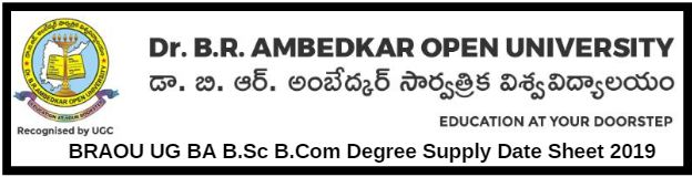 BRAOU UG BA B.Sc B.Com Degree Supply Date Sheet 2019