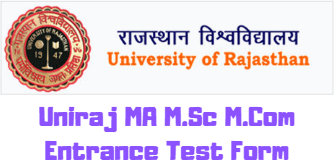 Uniraj MA M.Sc M.Com Entrance Test Form 2020