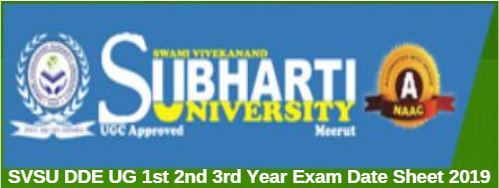 SVSU DDE UG 1st 2nd 3rd Year Exam Date Sheet 2019