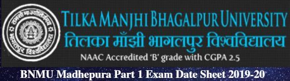 BNMU Madhepura Part 1 Exam Date Sheet 2019-20