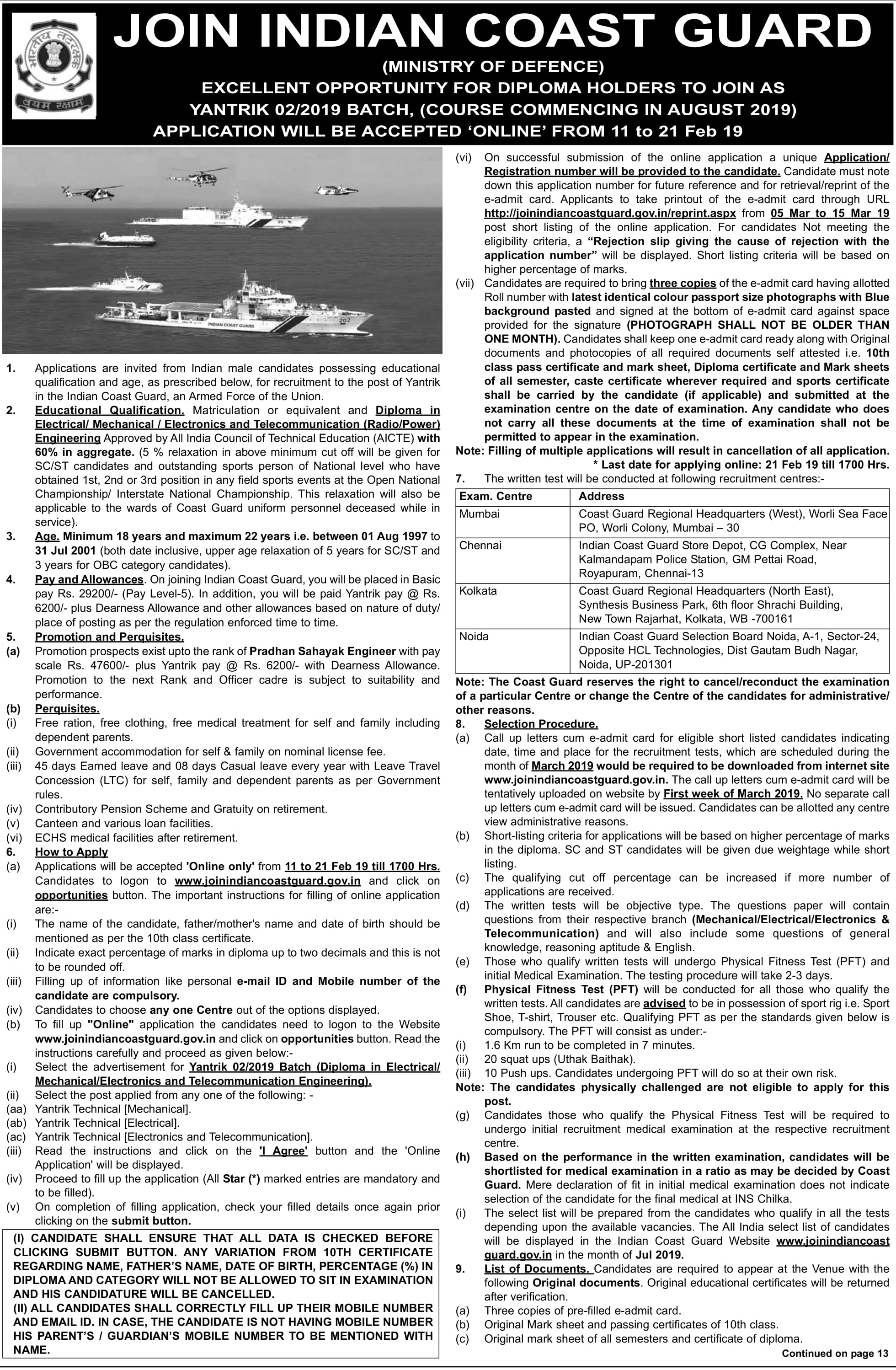 Indian Coast Guard 02/2019 Notification Check