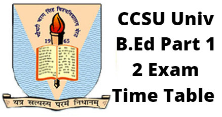 CCSU Univ B.Ed Part 1 2 Exam Time Table
