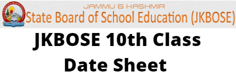 JKBOSE 10th Class Date Sheet